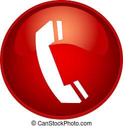 teléfono, botón, rojo
