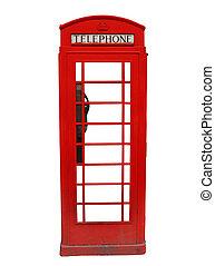teléfono, británico, cabina