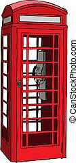 teléfono, británico, rojo, cabina