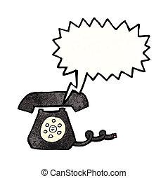 teléfono, caricatura, resonante