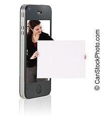 teléfono, cartón, elegante, tenencia, blanco
