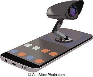 teléfono celular, abajo, vídeo, acostado, mirar