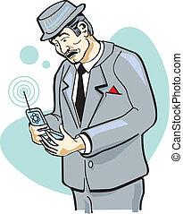 teléfono celular, arte, clip, hombre