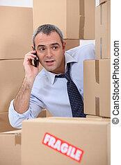 teléfono celular, cajas, rodeado, usuario