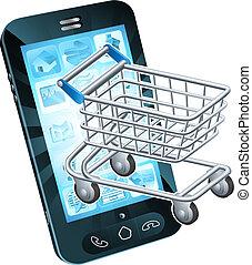 teléfono celular, carro de compras