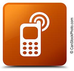 teléfono celular, cuadrado, resonante, marrón, botón, icono