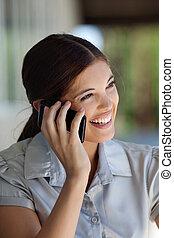 teléfono celular, ejecutivo, hembra, hablar