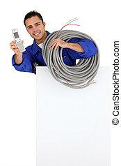 teléfono celular, electricista