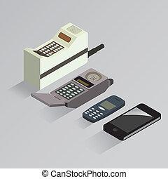 teléfono celular, evolución, vector