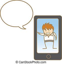teléfono celular, hombre, carácter, caricatura, hablar