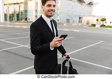 teléfono celular, hombre, imagen, posición, serio, aire ...