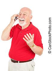 teléfono celular, hombre mayor, conversación