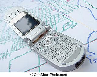 teléfono celular, mapa