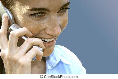 teléfono celular, mujer, 7