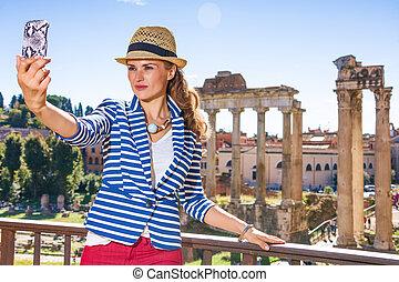 teléfono celular, mujer, selfie, viajero, roma, toma