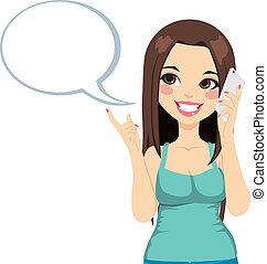 teléfono celular, niña, conversación