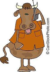 teléfono celular, vaca