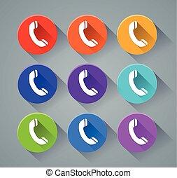 teléfono, colores, vario, iconos