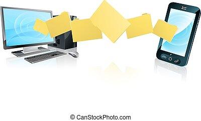 teléfono, computadora, transferencia, archivo