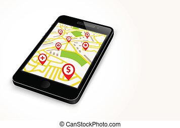teléfono, con, mapa