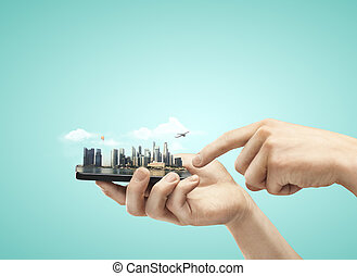 teléfono, con, modelo, ciudad