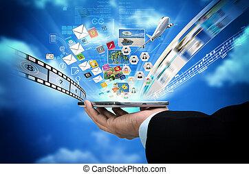 teléfono, concepto, elegante,  internet