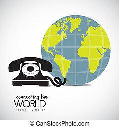 teléfono, conectado, mundo