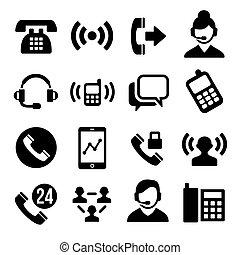 teléfono, conjunto, centro de la llamada, iconos