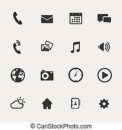 teléfono, conjunto, icono
