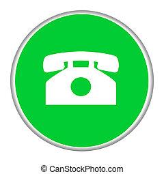 teléfono, contacto, botón
