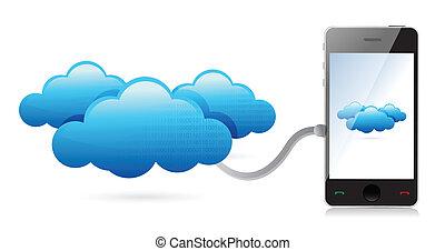 teléfono, de conexión, nubes, red