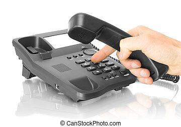 teléfono de la oficina, con, mano