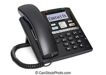 teléfono de la oficina, nosotros, aislado, contacto, blanco