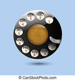 teléfono, disco, viejo, retro, diales