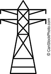 teléfono, eléctrico, torre, icono, contorno, estilo