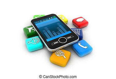 teléfono, elegante, apps;