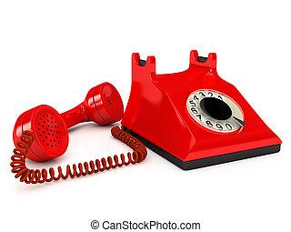 teléfono, encima, blanco