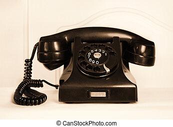 teléfono, esfera, retro, rotatorio