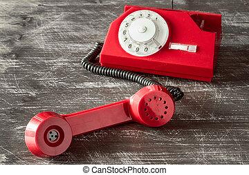 teléfono, esfera, rotatorio, rojo