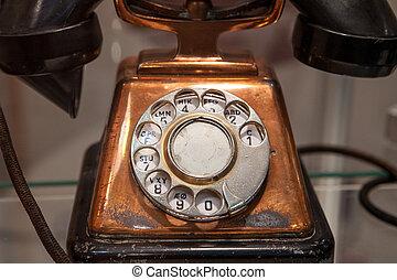 teléfono, esfera, viejo, rotatorio