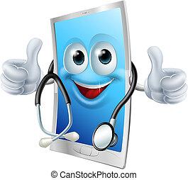 teléfono, estetoscopio, doctor