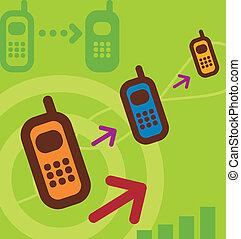 teléfono, flechas, celular