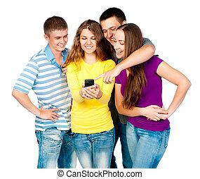 teléfono, grupo, jóvenes