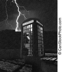 teléfono, iluminación, tormenta, cabina