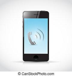 teléfono, ilustración, teléfono, diseño