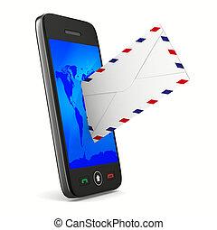 teléfono, imagen, aislado, fondo., correo, blanco, 3d