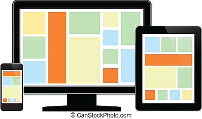 teléfono, lcd, monitor, tableta