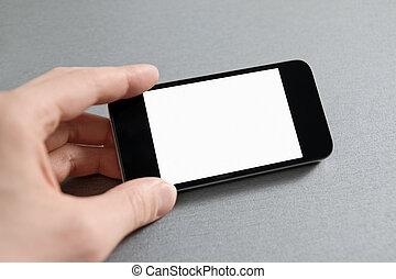 teléfono móvil, actuación, mano, blanco