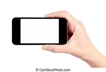teléfono móvil, aislado, elegante, mano