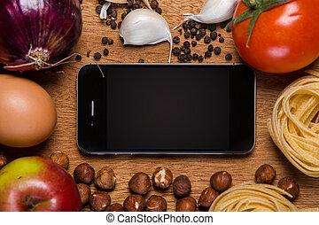 teléfono móvil, alimento, kitchen.